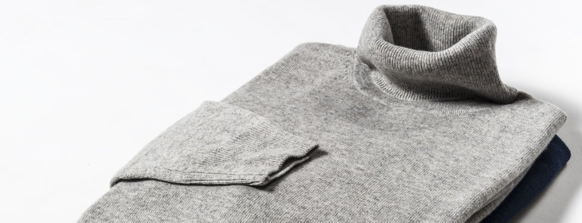 custom tailored men's polo neck sweater